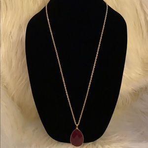 Jewelry - 14K Gold Plated Magenta Vesuvianite Pendant